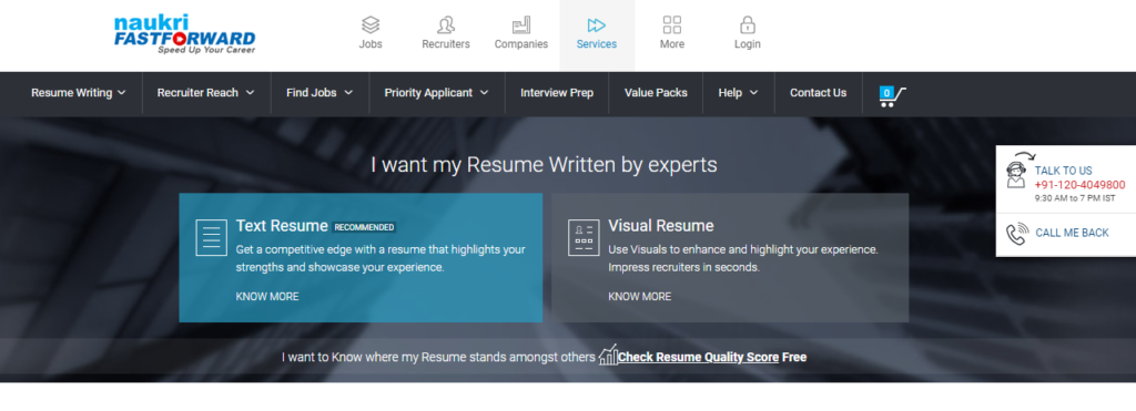 resume.naukri.com review